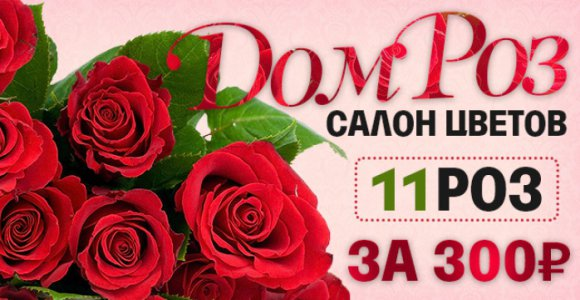 11 роз с оформлением от магазина цветов ДомРоз