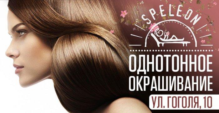 Скидка 50% на однотонное окрашивание волос в