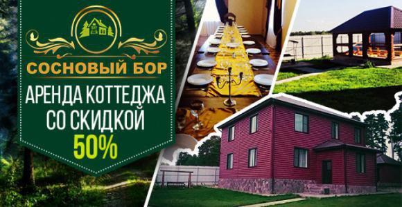 Скидка 50% на аренду коттеджа Сосновый Бор