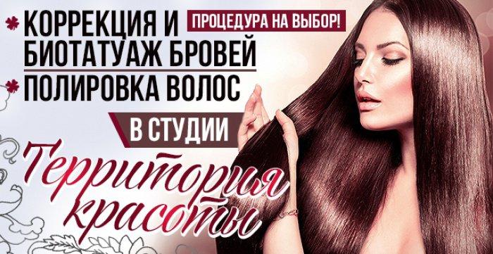 Скидка 50% на коррекцию и биотатуаж бровей или полировку  волос