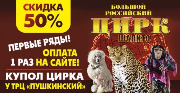 Скидка 50% на билет в Большой российский цирк-шапито (у ТРЦ Пушкинский)